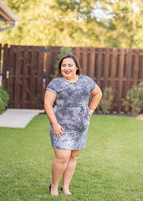 Striped Tie- Dye T-shirt dress