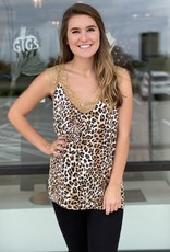 Animal Print Satin and Lace Tank