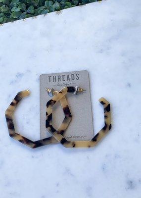 Tortoise Hexagon Acrylic Earring