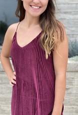 Ribbed Velvet Midi Cami Dress