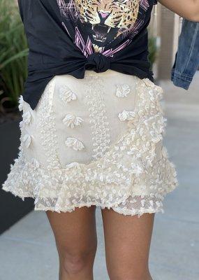 Pom Lace Lap Mini Skirt