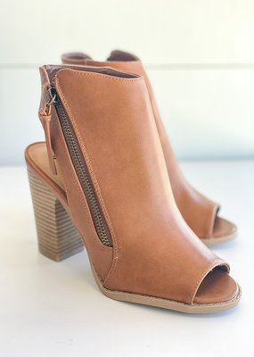 Open Toe Leather Zip Booties
