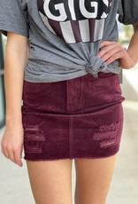 Distressed Corduroy Mini Skirt