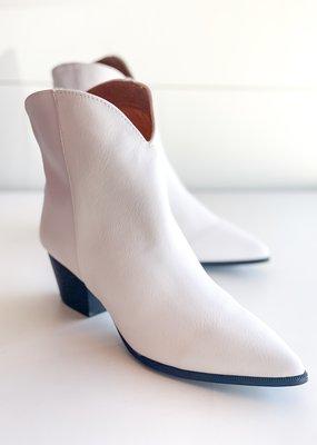 White Crinkle Heel Bootie