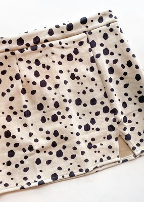 Cow Spot Print Suede Skirt