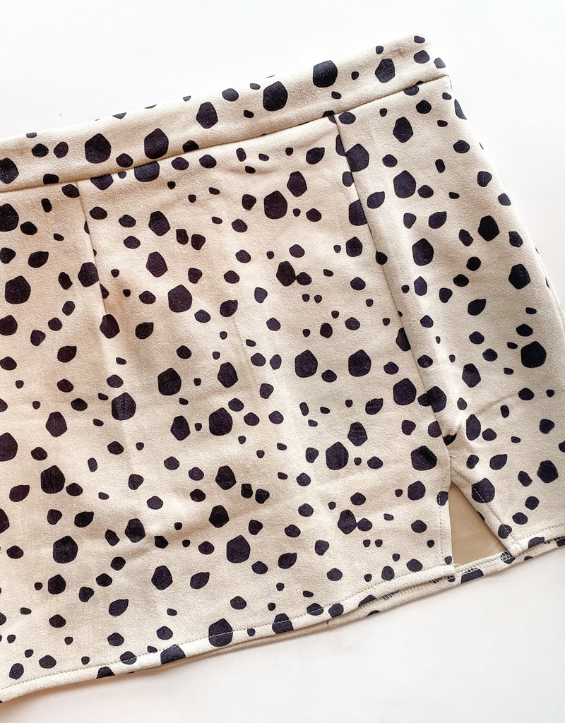 Cow Spot Print Suede Skirt