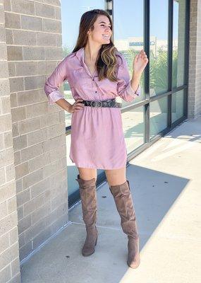 Elastic Waist Button Up Dress