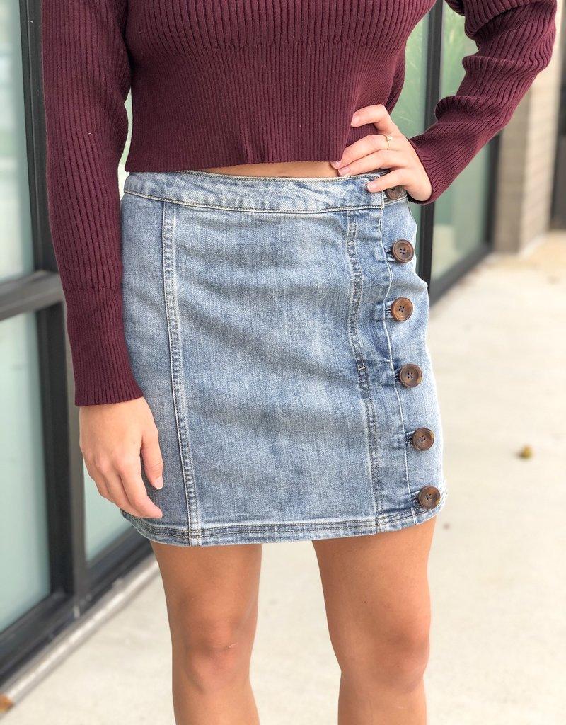 Side Button Denim Skirt