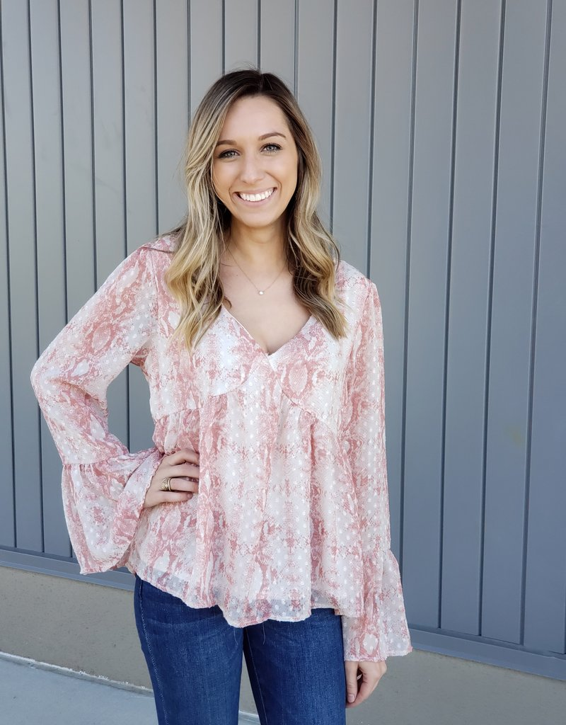 Snake V Neck Boho Blouse