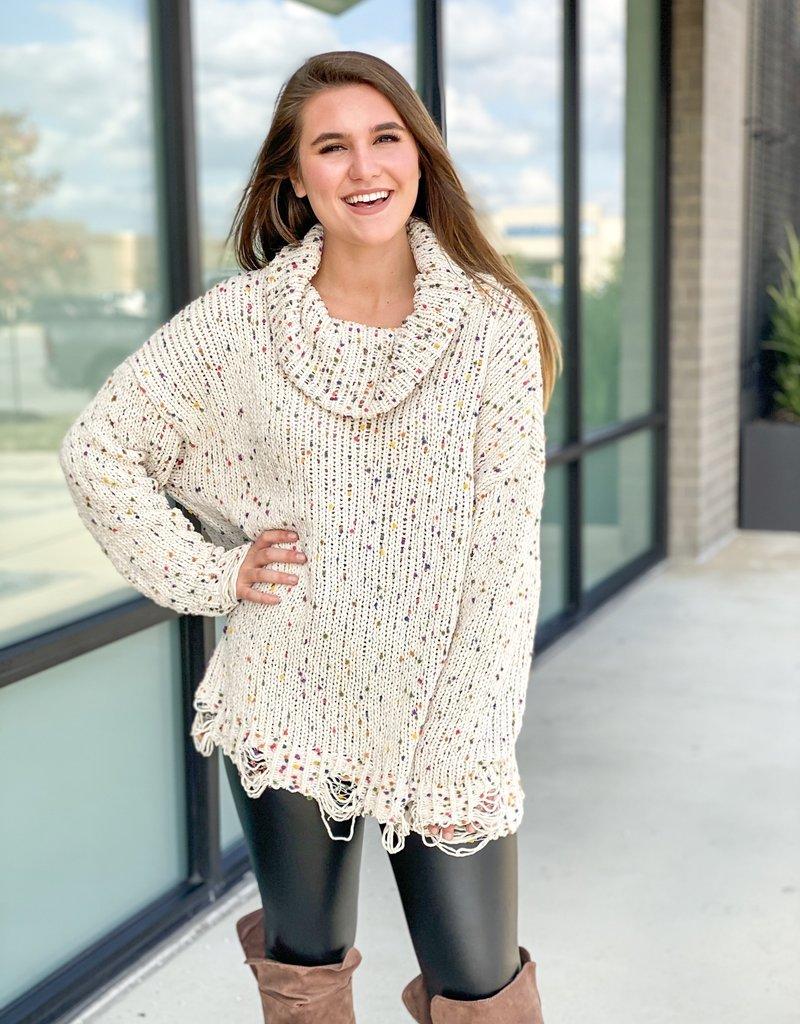 Distressed Confetti Sweater