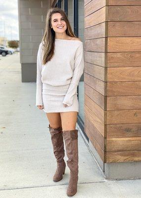 Ribbed One Shoulder Sweater Dress