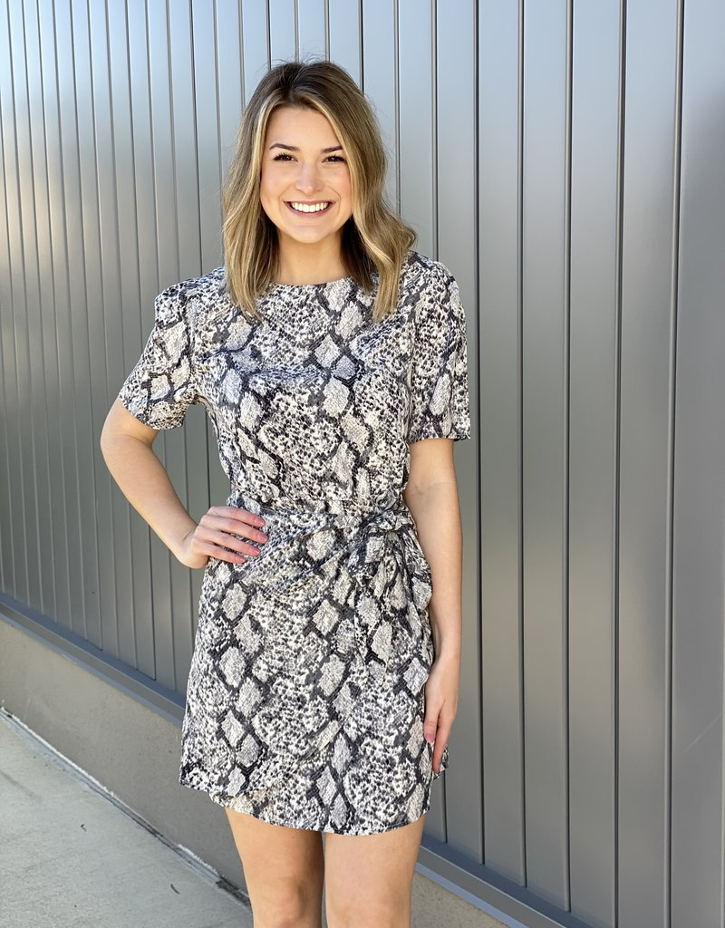 Snaked Wrap Bottom Dress With Sleeves