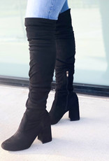 Thigh High Chunky Heel Suede Boot