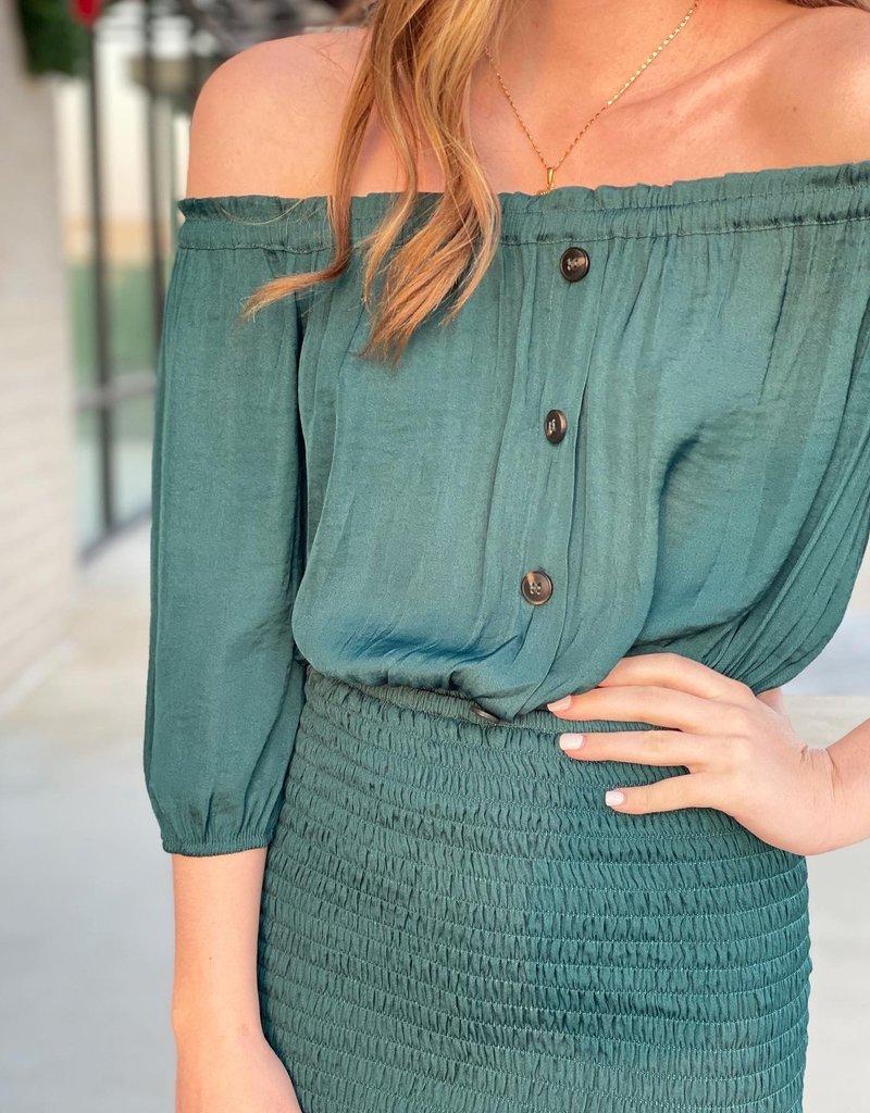 OTS Satin Scrunch Bottom Dress