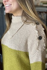 Color Block Button Neck Sweater