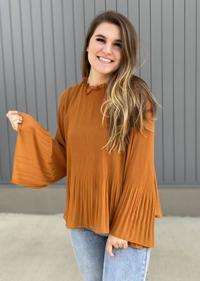 Pleated High Neck Bell Sleeve