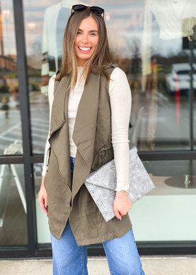 Drape Vest with Zip and Tie Detail
