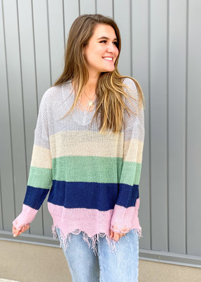 Colorblock Frey Hem Sweater