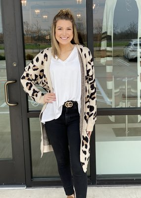 Long Leopard Open Sweater Cardi