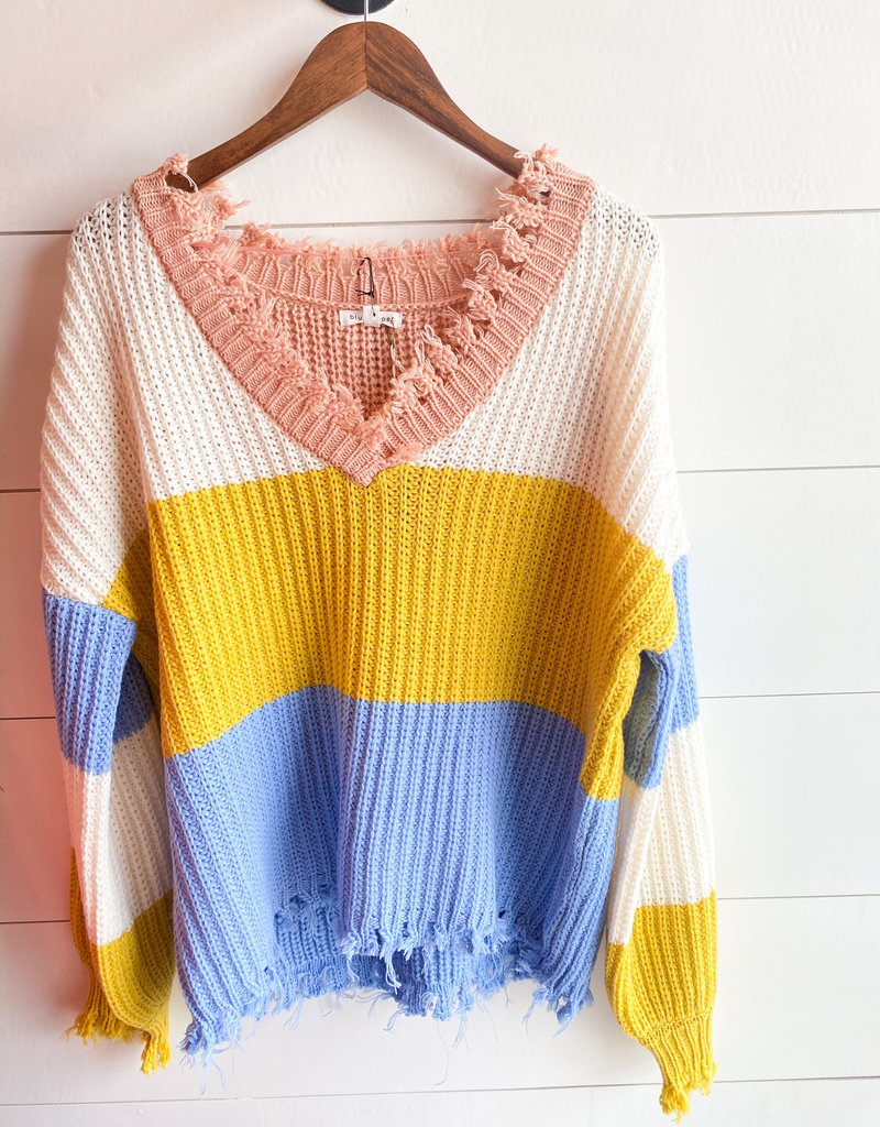 Raw Hem V Neck Colorblock Sweater