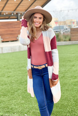Long Color Block Striped Cardigan
