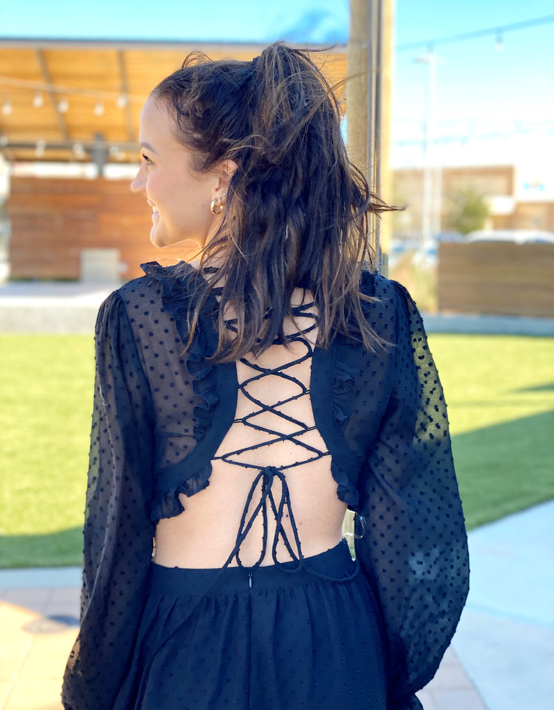 Lace Up Back Dress with Side Cut Out