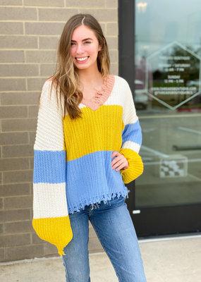 Raw Hem V Neck Colorblock Sweater