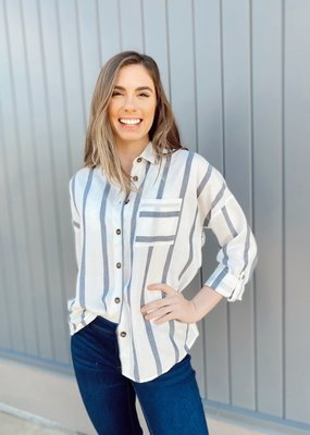Striped Button Up Collared Blouse