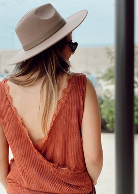 Tie Bottom Sweater Tank with Open Lace Back