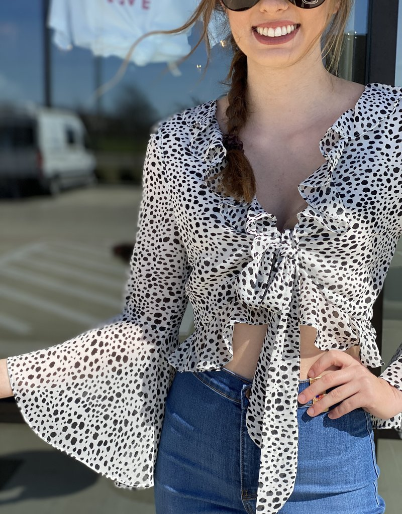 Ruffle Printed and Tie Bell Sleeve Crop
