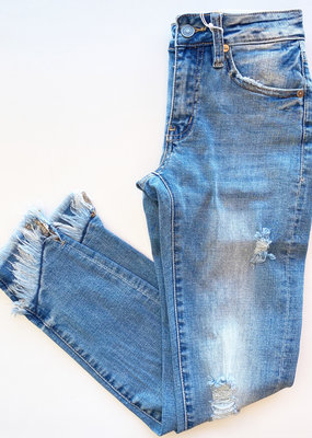 Distressed Skinnies with Layered Frey Hem