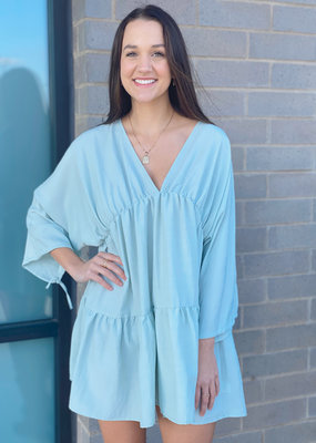 Tiered Mini Dress with Sleeves
