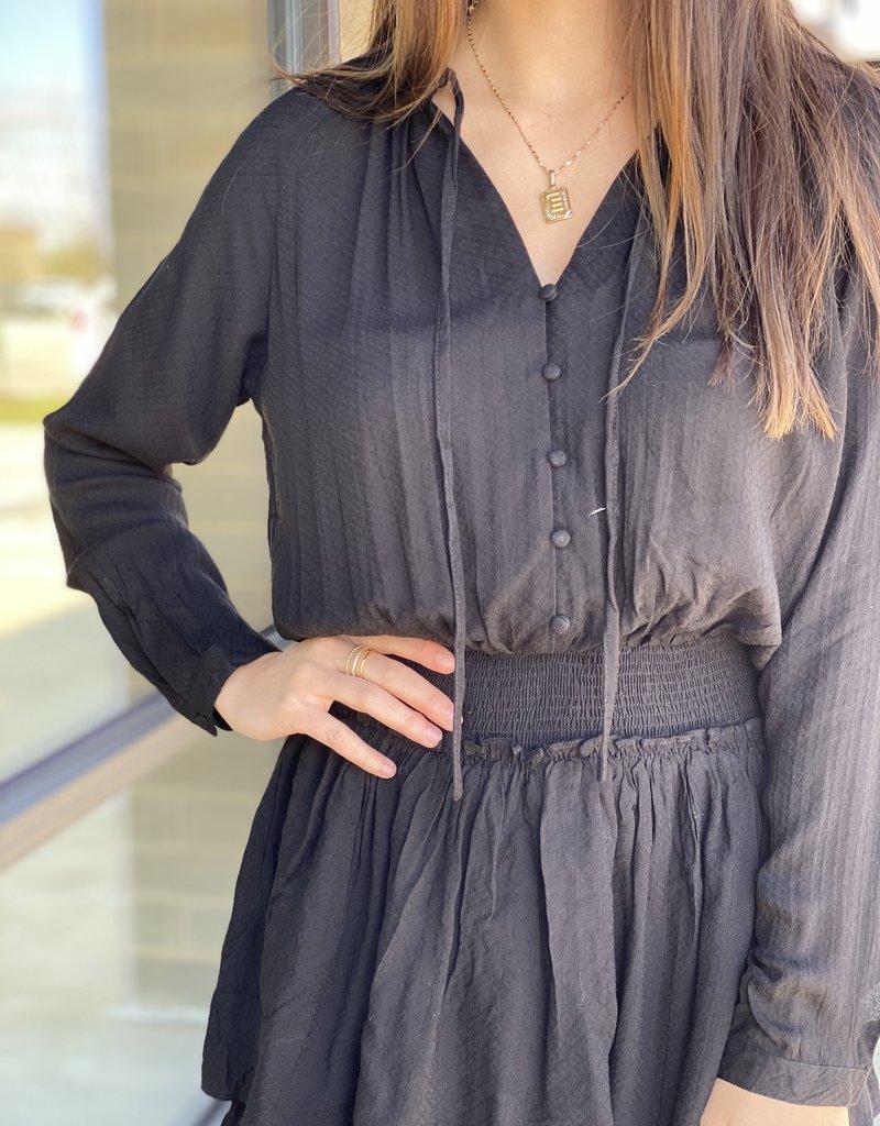 Button Up Blouse Cinch Waist Dress