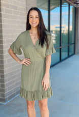 Ruffle Short Sleeve Wrap Dress