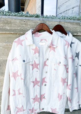 White Denim Colored Star Jacket