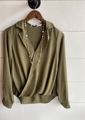 Long Sleeve Collared Wrap Blouse