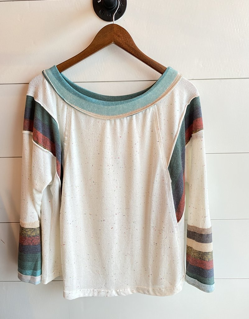 Confetti and Stripe 3/4 Top