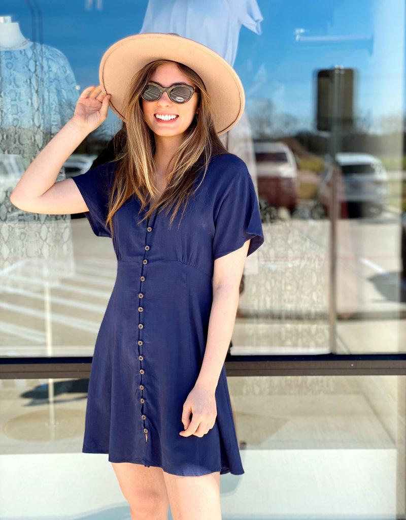 Button Up Collared Short Dress