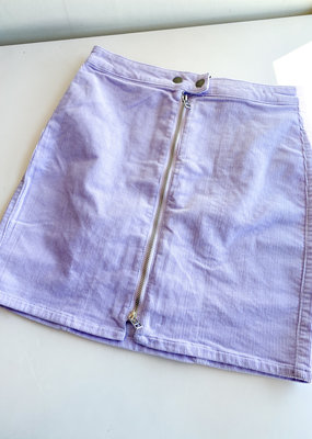 Zipper Front Corduroy Mini Skirt