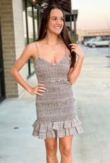 Plaid Ruched Mini Dress