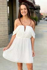 Pleated OTS Deep V Mini Dress