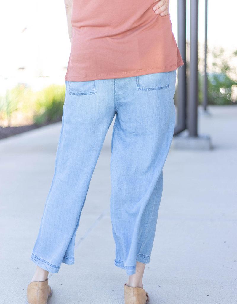 Flare Chambray Crop Pants