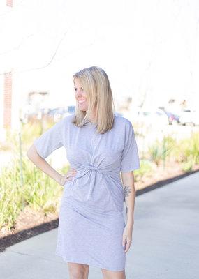 Front Cinch Detail Knit Dress