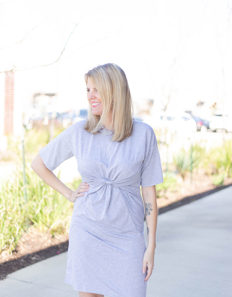Front Cinch Detail Knit Dress