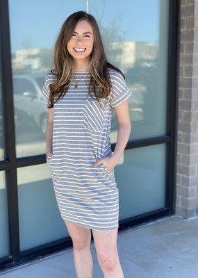 Striped Pocket TShirt Dress