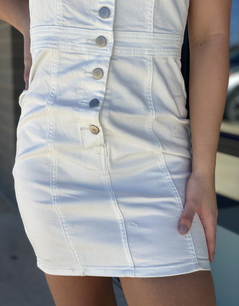 Button Up Overall Denim Dress