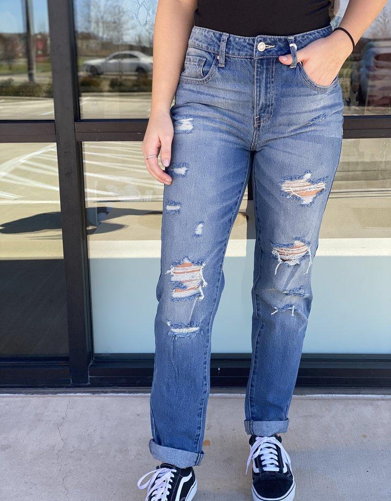 Ripped Detail Boyfriend Jeans