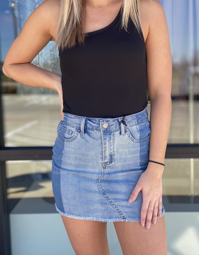 2 Tone Denim Mini Skirt
