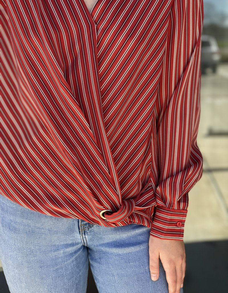 Striped Front Wrap Blouse