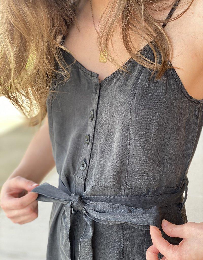 Button Up Midi Chambray Dress